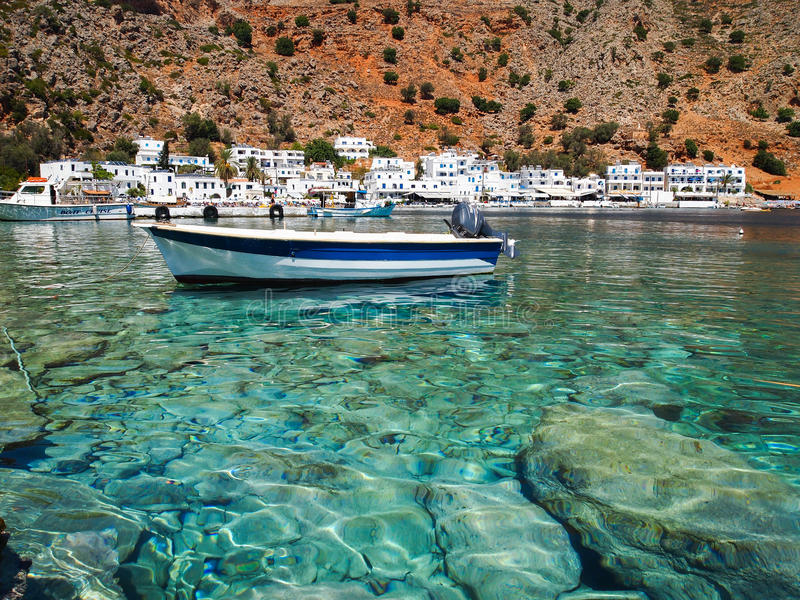Peaceful town of loutro, greece stock photo