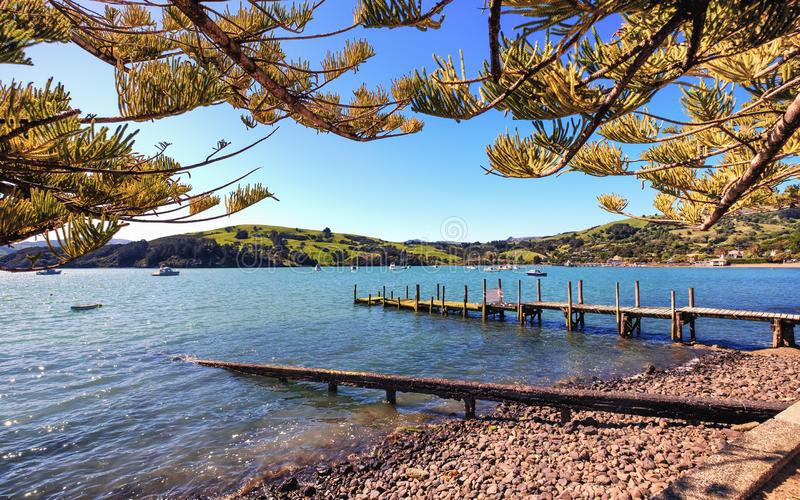 Peaceful view at Akaroa, Canterbury, New Zealand stock images