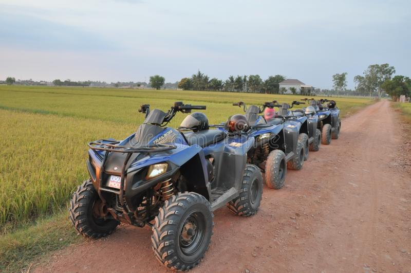 Landscape View with 4-Wheels Motorbike stock images