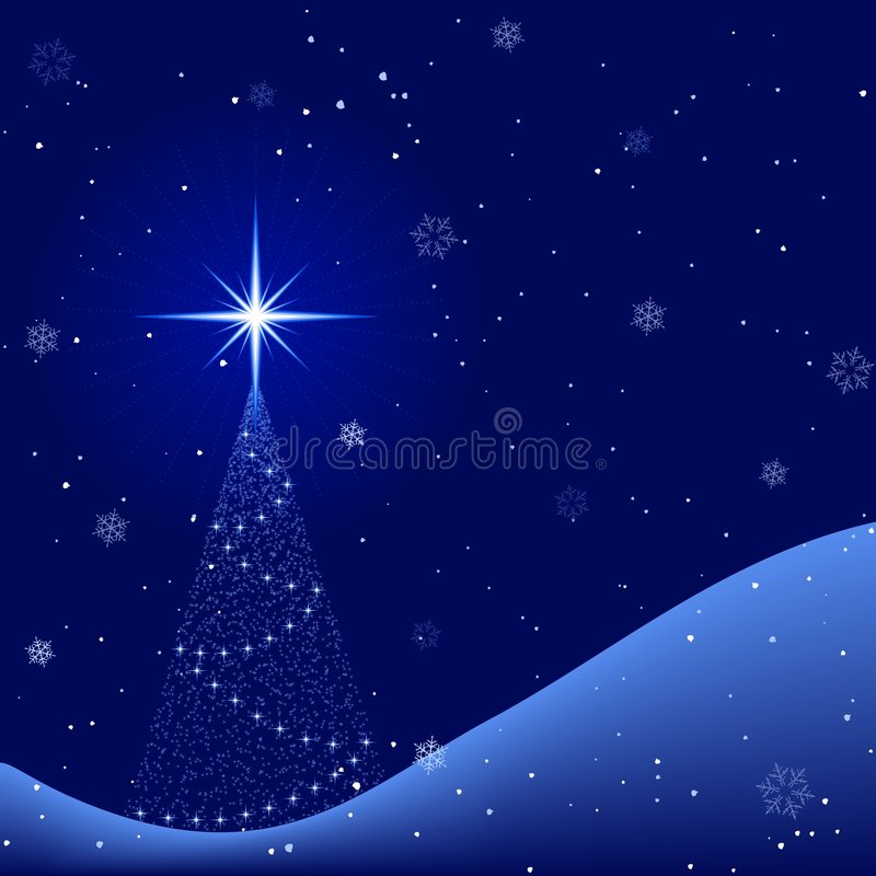 Download Peaceful Winter Night With Snowfall And Christmas Stock Vector - Illustration of card, star: 6635146