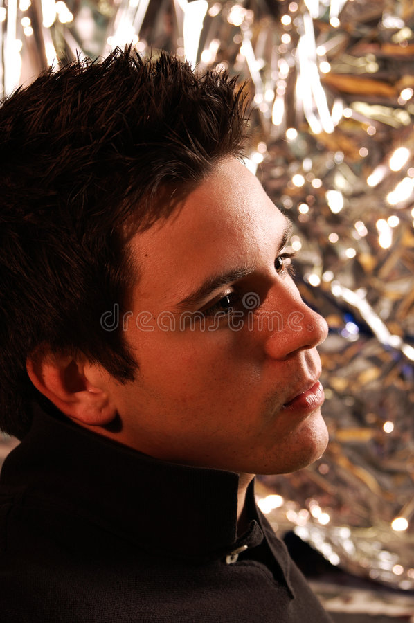 Peaceful young man in polo royalty free stock photos
