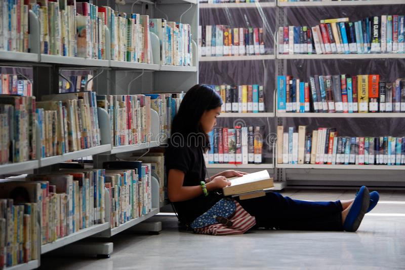 Peacefully reading in the library stock photos