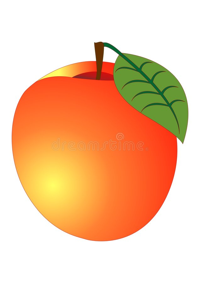 Download Peach stock illustration. Image of natural, isolated, color - 8177213