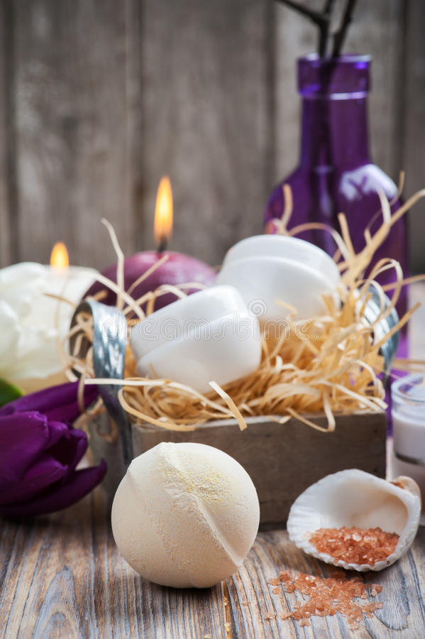 Peach bath bomb and SPA products royalty free stock images