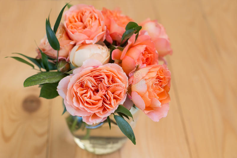 Peach bouquet of david austin roses stock images