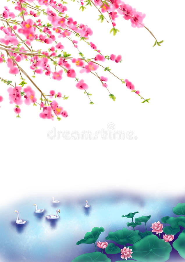 Peach or Cherry blossom Background in spring time stock illustration