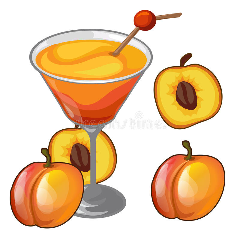 Peach cocktail in a glass with straw and fruit stock illustration