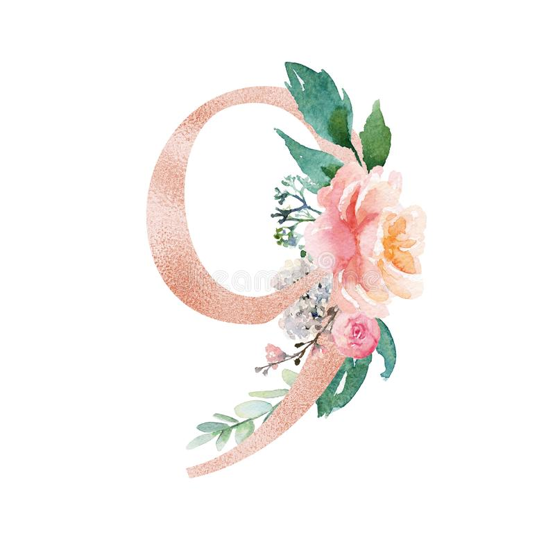 Peach Cream    Blush Floral Number Set