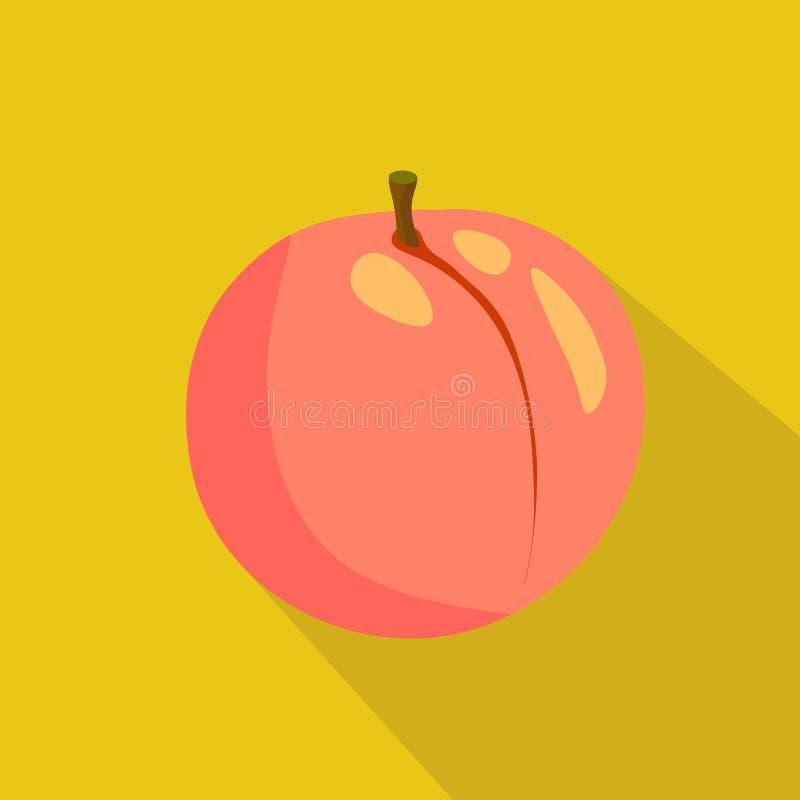 Peach flat icon. Vector illustration fresh fruits stock illustration