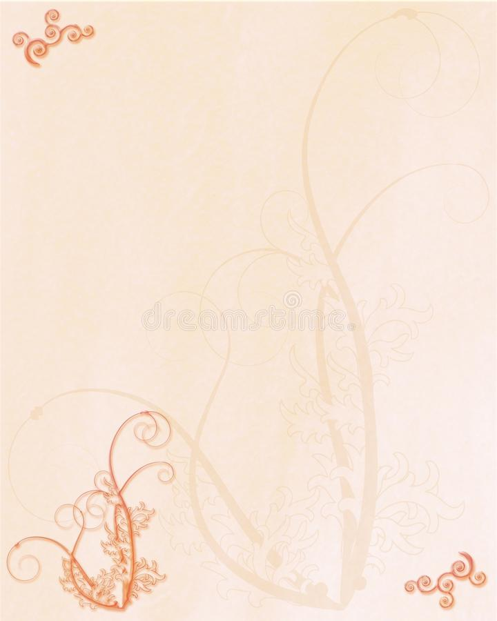 Peach Flourish textured background paper. Peach coloured textured background with floral designs in metallic effect suitable for cards, designs, scrapbooking stock illustration