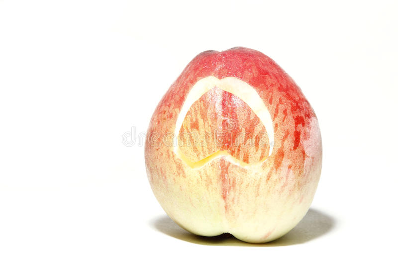Peach with heart royalty free stock photography