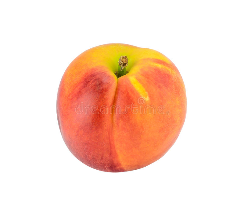 Peach isolated on white stock images