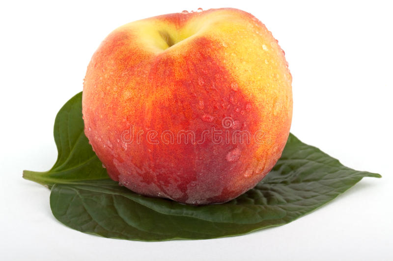 Download Peach with leaf stock image. Image of fruit, food, refreshment - 9738473