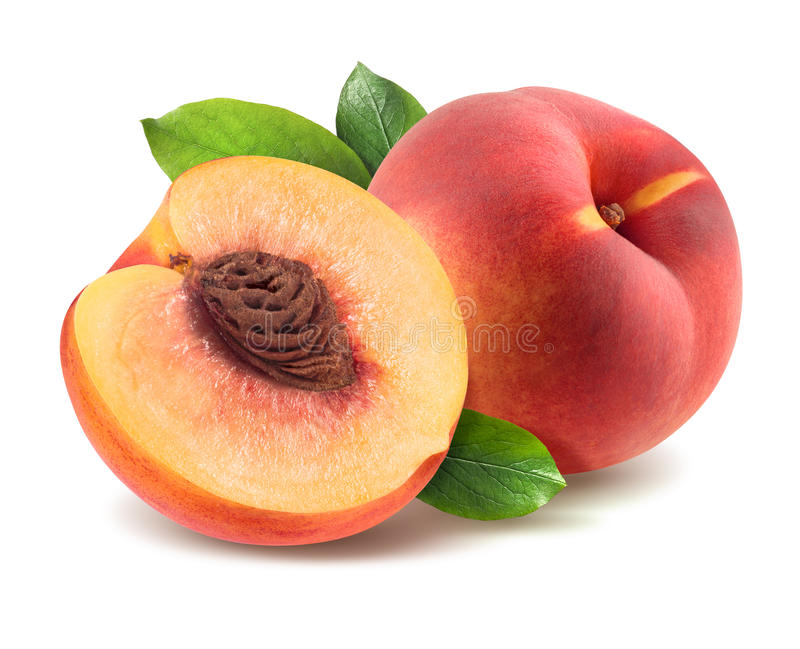 Download Peach With Leaves And Half Piece Isolated On White Background Stock Photo - Image of snack, season: 44908386