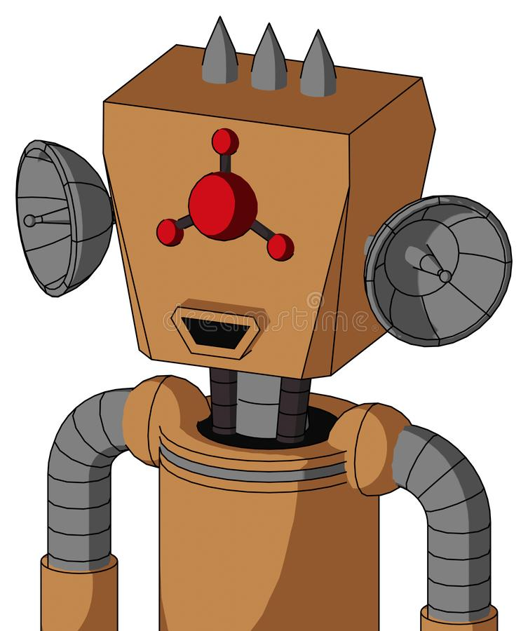 Peach Mech With Box Head And Happy Mouth And Cyclops Compound Eyes And Three Spiked. Portrait style Peach Mech With Box Head And Happy Mouth And Cyclops Compound royalty free illustration