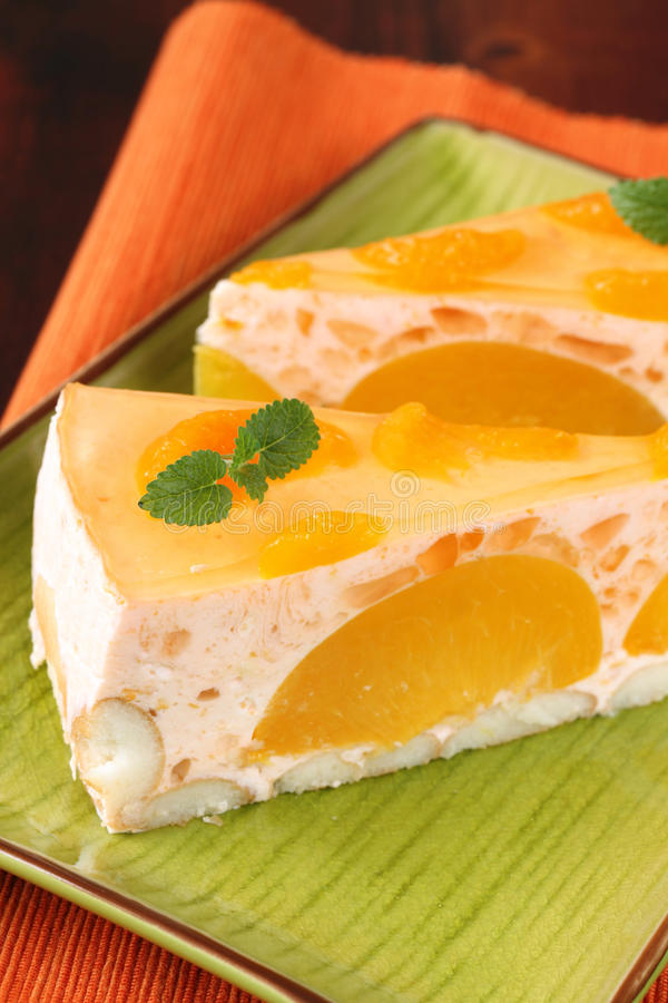 Free Peach Mousse With Tangerines Stock Images - 12645344