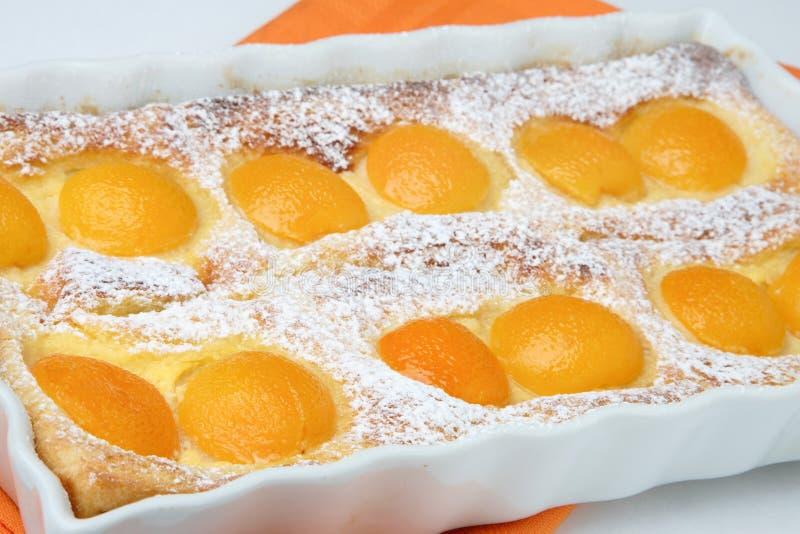 Peach pie dessert with powdered sugar stock images