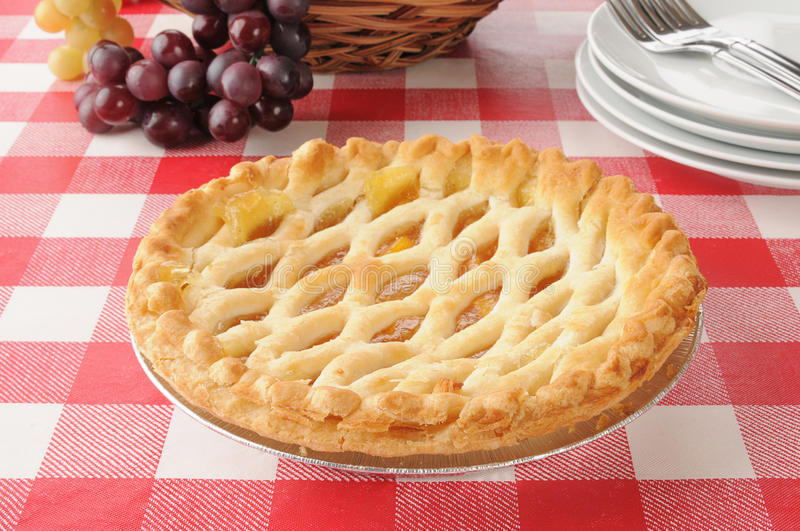 Download Peach Pie On A Picnic Table Stock Images - Image: 28115524