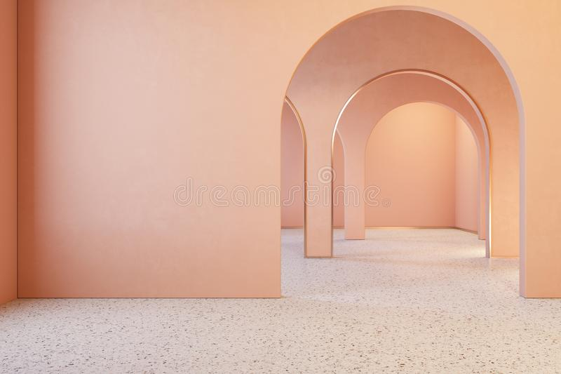 Peach pink coral interior with archs and terrazzo floor. royalty free illustration