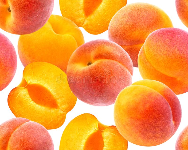 Peach seamless pattern. Ripe peaches isolated on white background royalty free stock photo