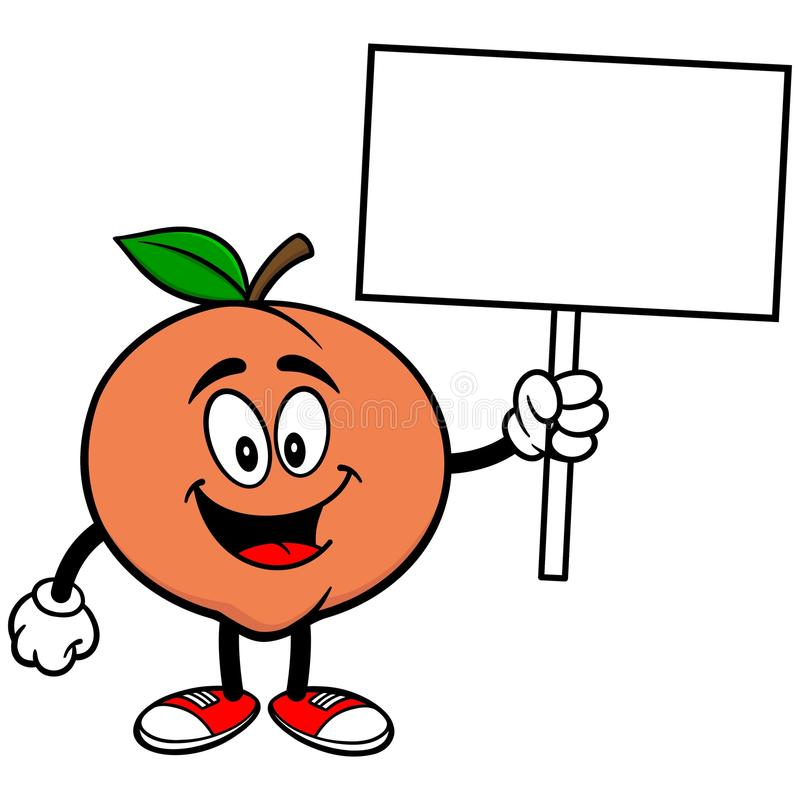 Peach with Sign. A vector illustration of a Peach with Sign stock illustration