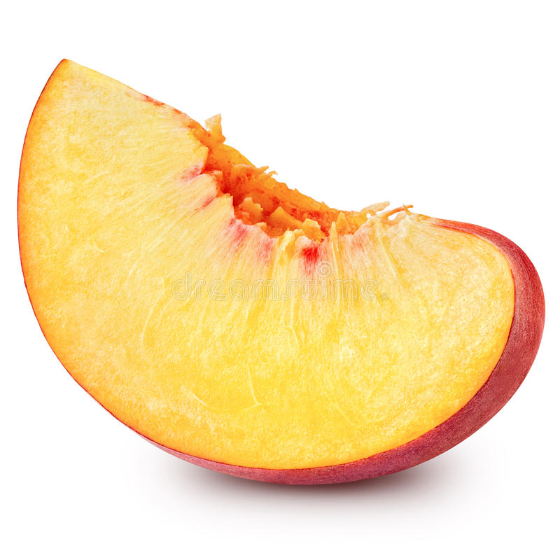 Peach. Slice isolated on white background Clipping Path stock photos