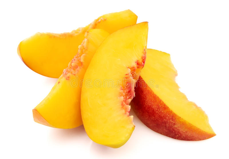 Peach slices royalty free stock image