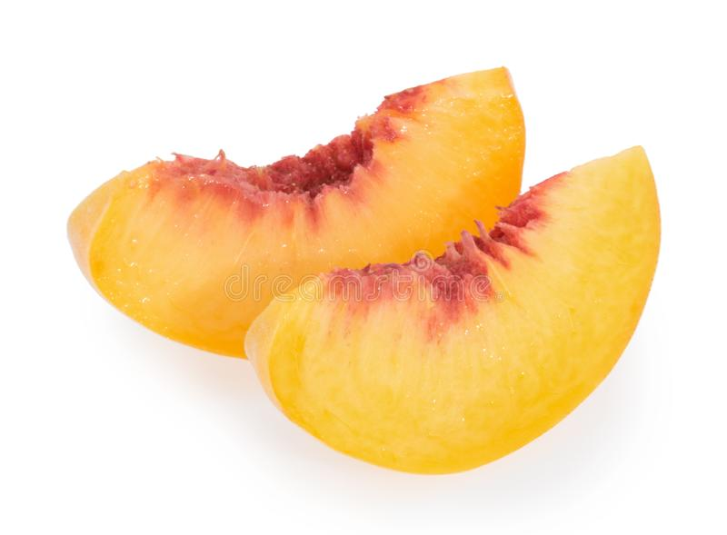 Peach slices isolated on white background royalty free stock photos