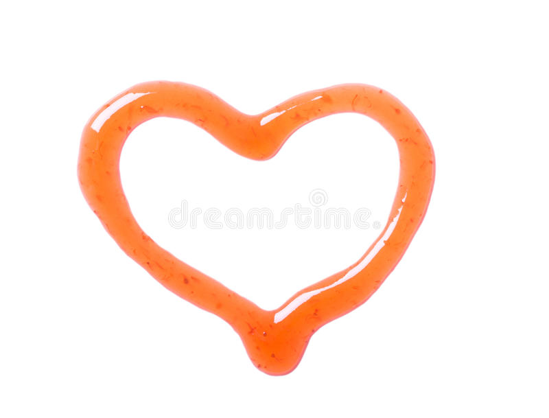 Peach syrup heart isolated stock image