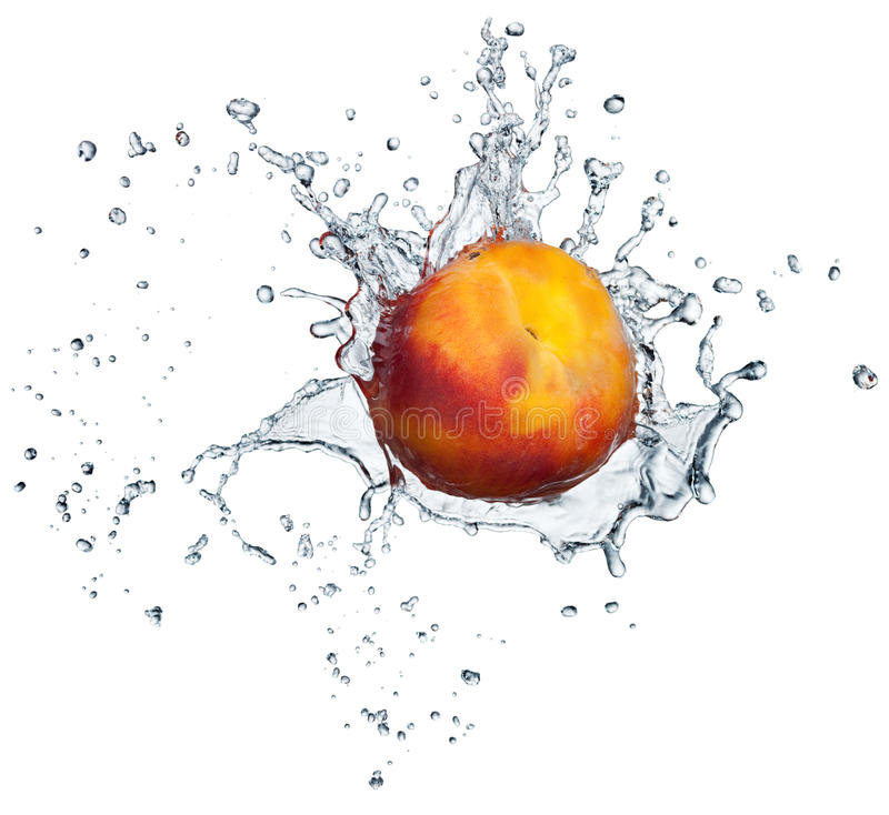 Peach in water splash stock images