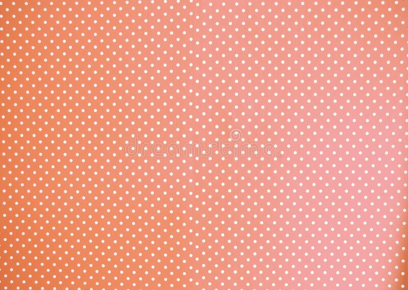 peach watercolor background texture pastel orange colored with white Polka Dots royalty free stock image