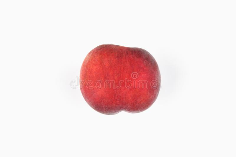 Peach on a white background. Fresh juicy peach on a white background. View from above. Place for writing. In isolation. Cut out stock photos