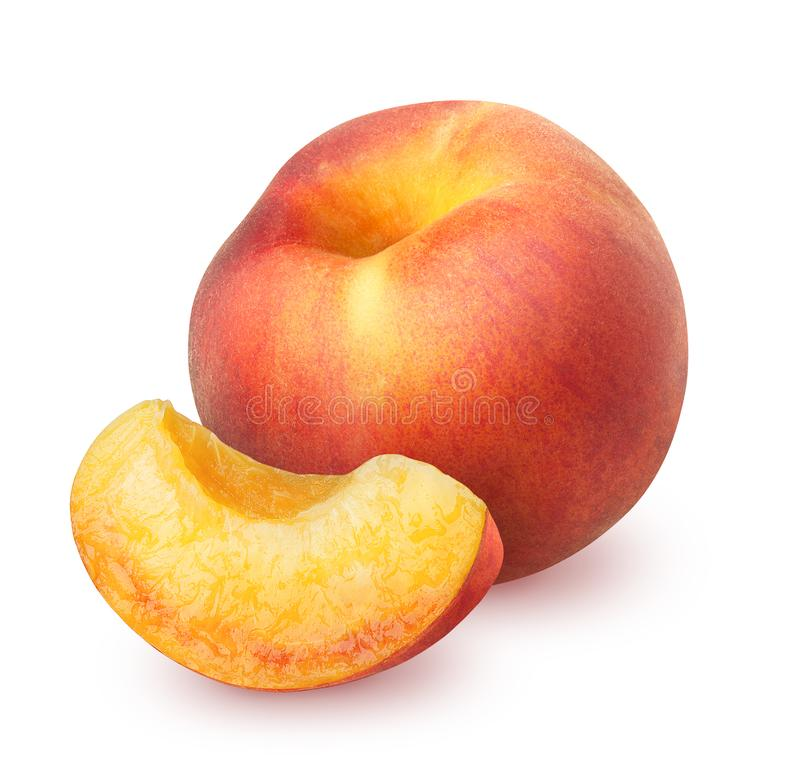 Peach whith slice isolated on white stock images