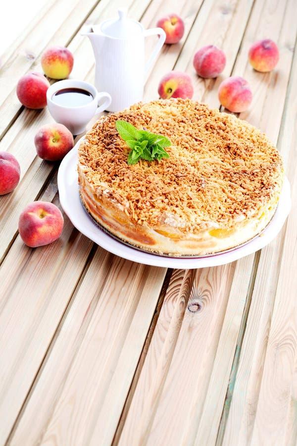 Peaches cheesecake stock image