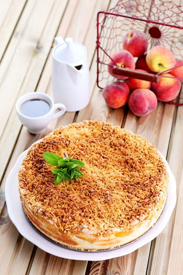 Peaches cheesecake royalty free stock image
