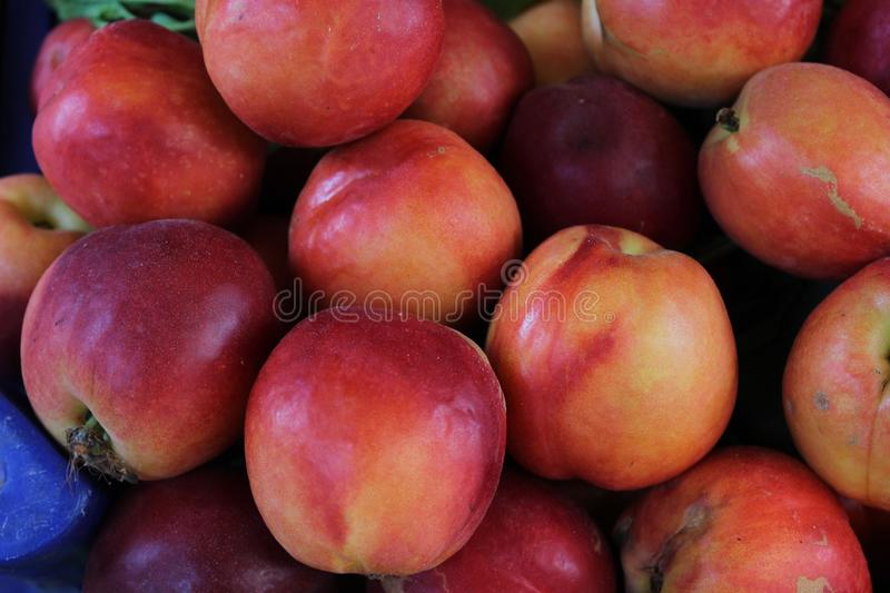 Peaches with closeup photography royalty free stock images