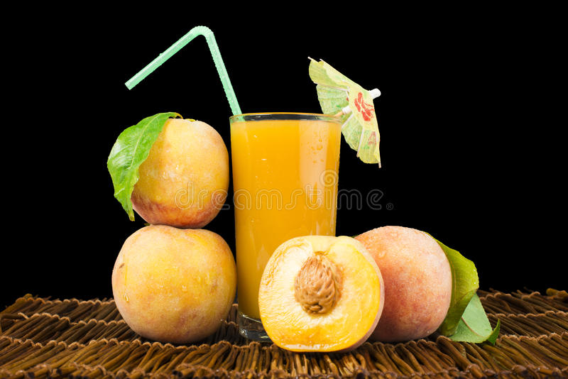 Download Peaches And Glass With Juice Stock Image - Image: 33629997