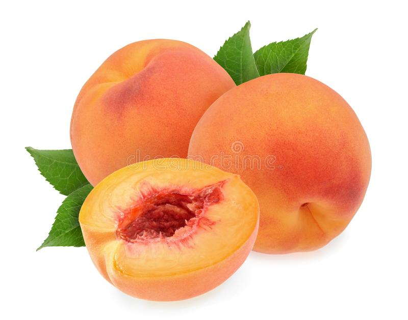 Peaches isolated on white background stock images