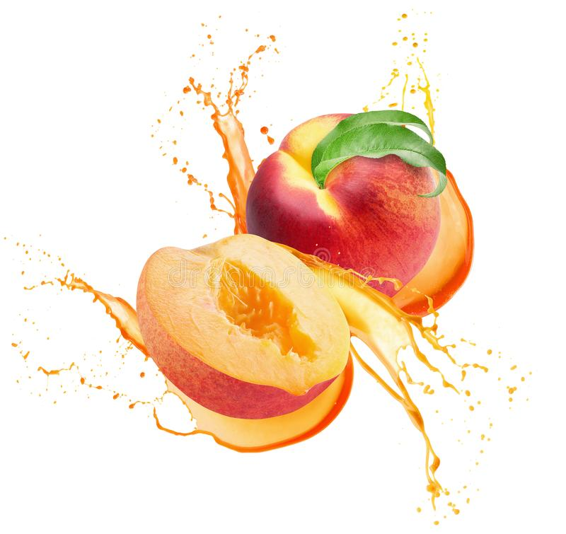 Peaches in juice splash isolated on a white background.  stock photos