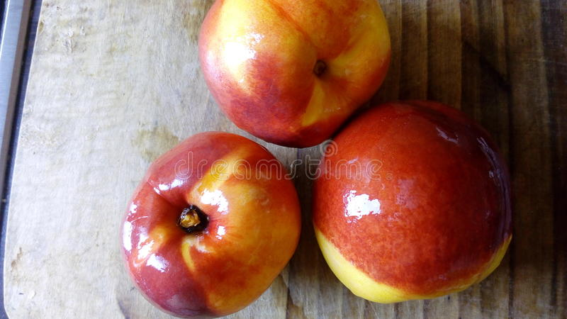 Peaches in the kitchen stock photography