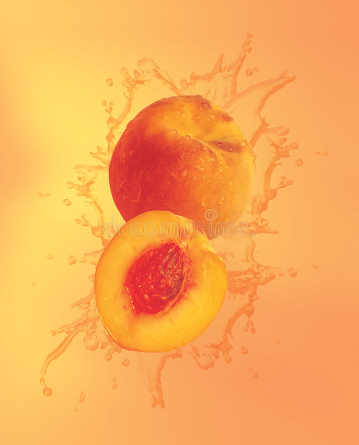 Peaches splashing in liquid royalty free illustration