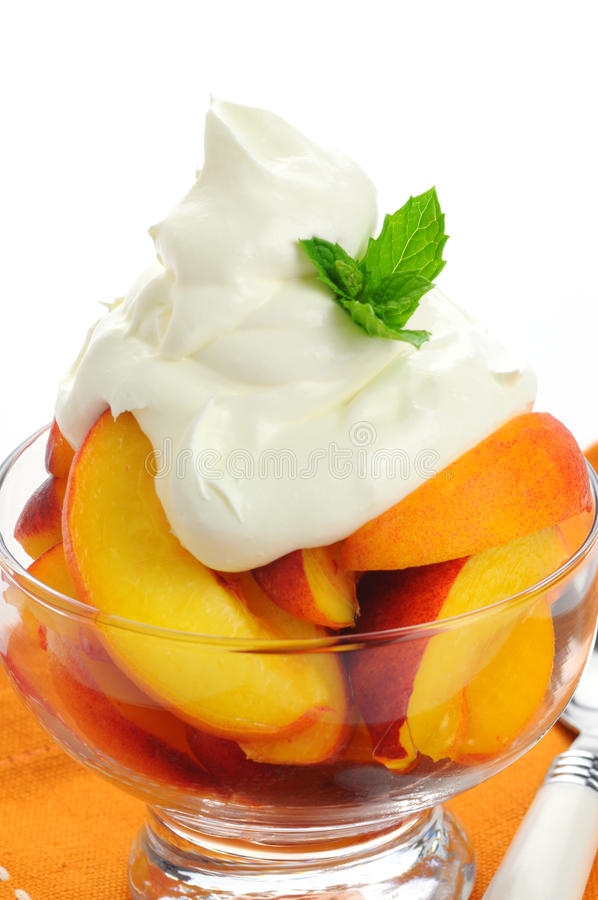 Peaches and Whipped Cream royalty free stock photo
