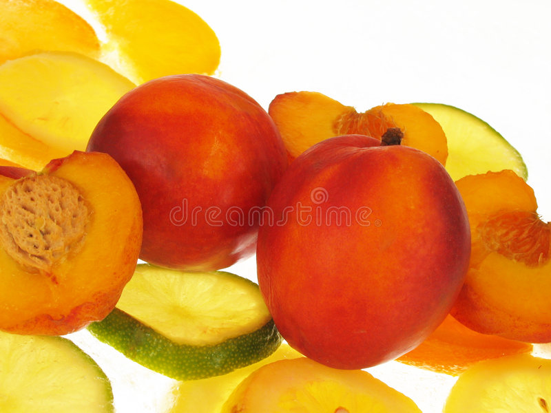 Peaches on white background royalty free stock photo