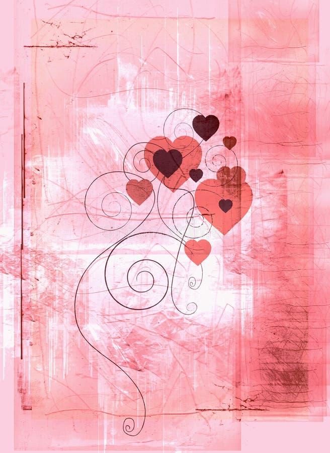 Peachy grunge hearts vector illustration
