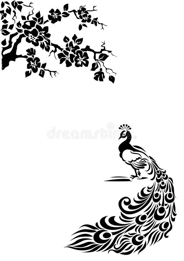 Peacock. The document of format А4. It is possible to change the size without illustration deterioration