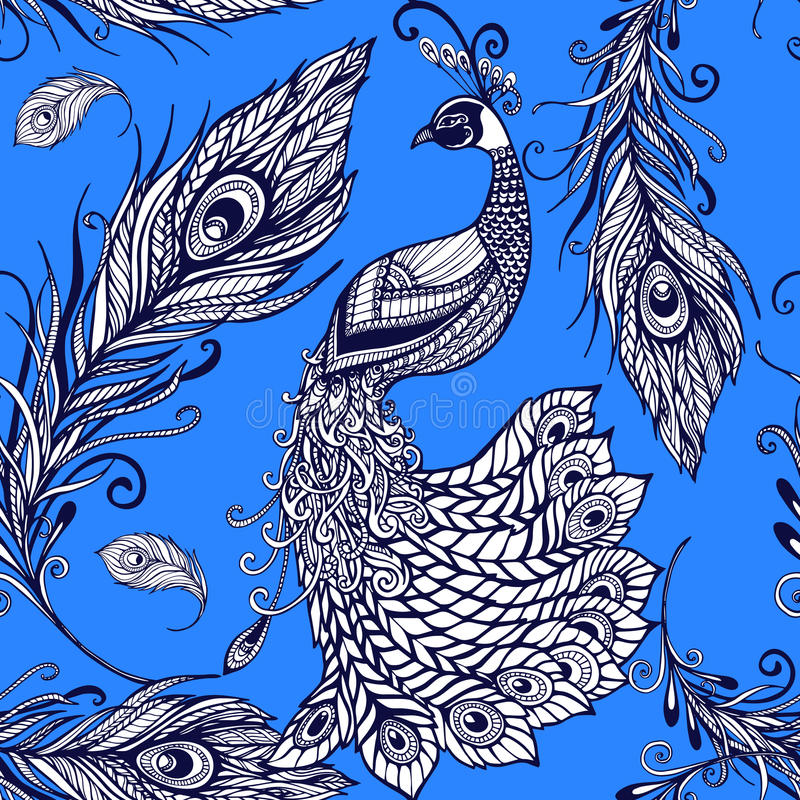 Peacock bird feathers seamless background pattern vector illustration