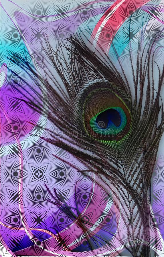 Peacock bl father with colorful abstract shaded textured abstract Background. Vector Illustration stock illustration