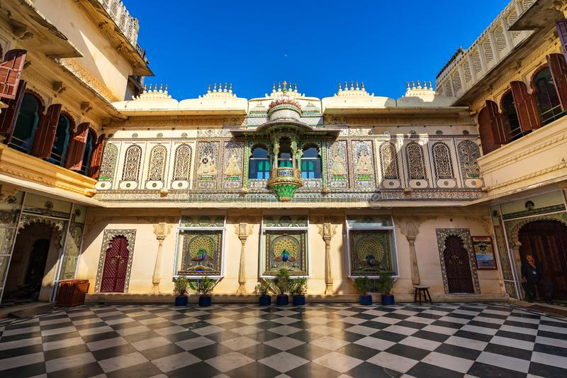 Peacock courtyard Mor Chowk in Udaipur city palace, India royalty free stock images