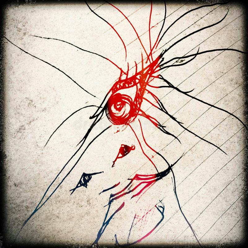 Peacock face. A 2minute scribble turned into something that looked mystical royalty free stock photos