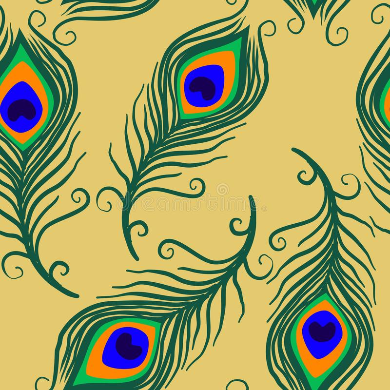 Peacock Feather Seamless Surface Pattern, Peacock Feathers Repeat Pattern for Textile Design, Fabric Printing, Fashion, Wallpaper royalty free illustration